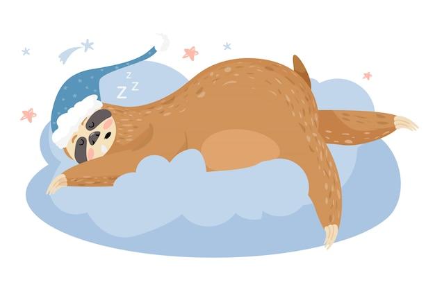 Милый ленивец спит на облаке