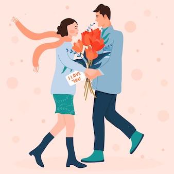 День святого валентина карты с счастливая пара.
