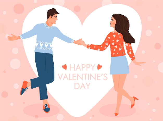 カップルのダンスとバレンタインのグリーティングカード。