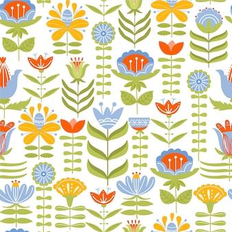 様々な花や葉とのシームレスなパターン。フォークモチーフ。