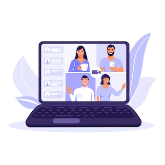 Команда людей на экране компьютера, разговор. видео чат.