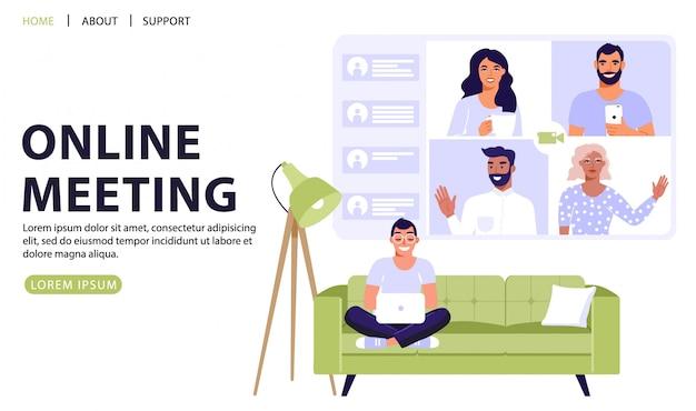 Видеоконференция или онлайн-встреча концепции.
