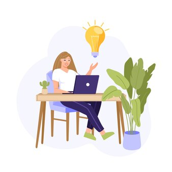 Женщина, работающая с ноутбуком. у девушки есть идея и решение.