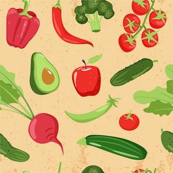 さまざまな野菜とのシームレスなパターン