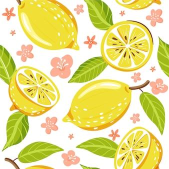 新鮮なレモンフルーツとのシームレスなファッションパターン