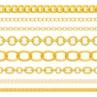 白い背景に分離された異なるシームレスなゴールドチェーンのセット