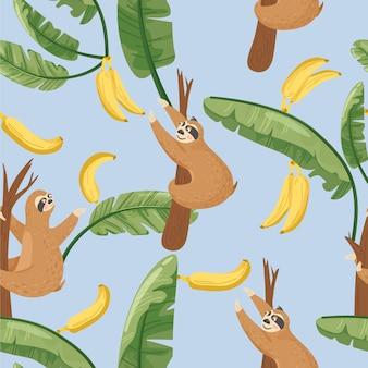 かわいいナマケモノとバナナの葉のシームレスパターン