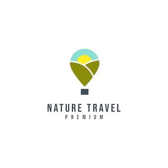 自然旅行のロゴのテンプレート
