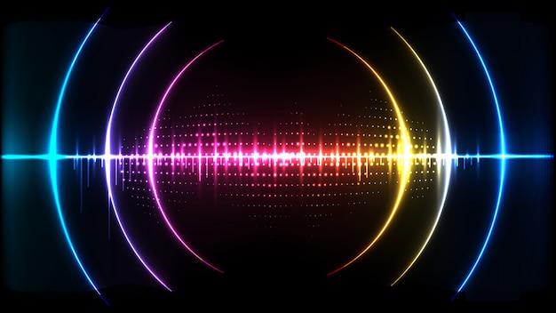 抽象的なデジタルテクノロジーの波音信号の概念の背景