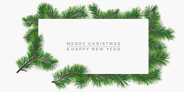 モミの枝グリーティングカードとクリスマスの背景