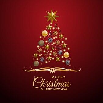 赤のテキストで、抽象的なカバーゴールデンクリスマスツリー