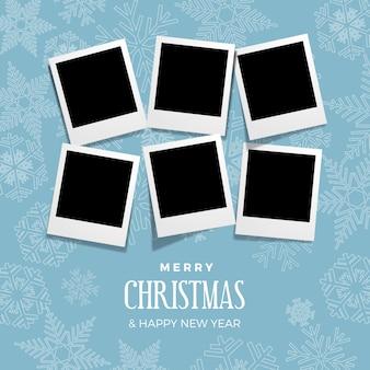 クリスマスと冬の写真、空白のフレーム。