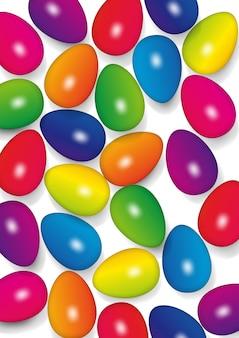 Пасхальные яйца в цветах радуги, векторная иллюстрация