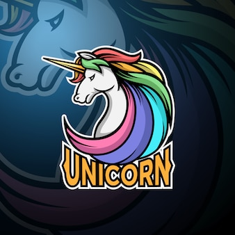 Единорог голова логотип игровой киберспорт шаблон