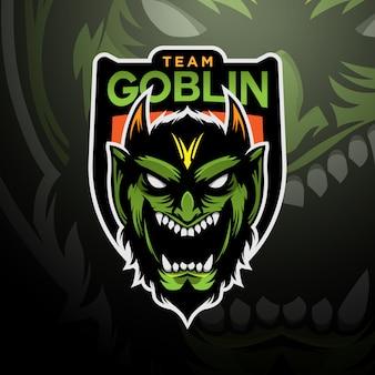Зеленый гоблин с логотипом игрового киберспорта