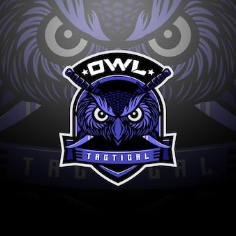 Голова совы тактический логотип команды