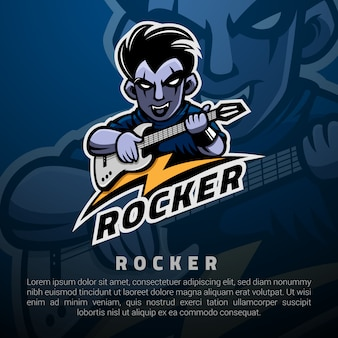 Рокер человек и его шаблон логотипа электрогитара