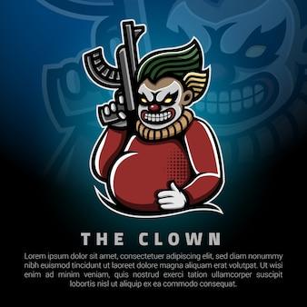 Клоун держит большой шаблон логотипа пистолет