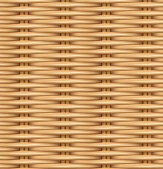 編まれた籐のシームレスなパターンの現実的な質感。