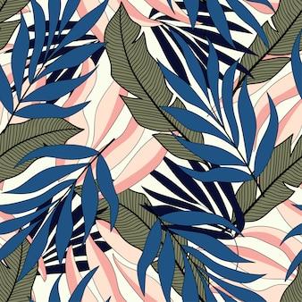 青い葉と熱帯のシームレスパターン