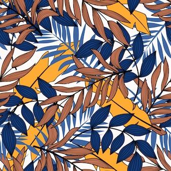 青と黄色の葉と植物のトレンドのシームレスパターン