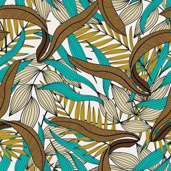 緑と茶色の葉でシームレスな熱帯パターン