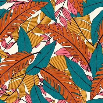 Модный тропический бесшовный узор с растениями и листьями желтого цвета на белом фоне