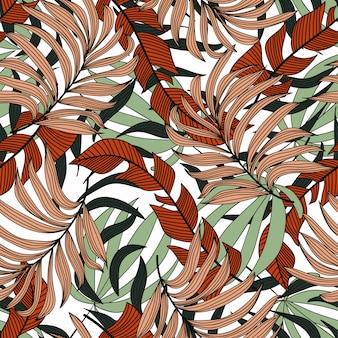 Летний бесшовные тропический узор с оранжевыми и зелеными листьями и растениями