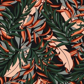 カラフルな葉と植物の抽象的な熱帯シームレスパターン