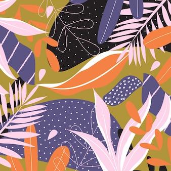 Абстрактный фон с тропическими листьями