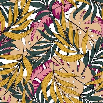 Ботанический бесшовный тропический узор с ярко-розовыми желтыми листьями и растениями
