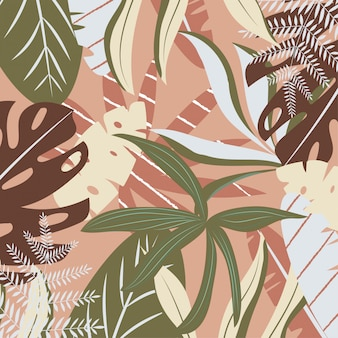 Коричневый фон с тропическими листьями