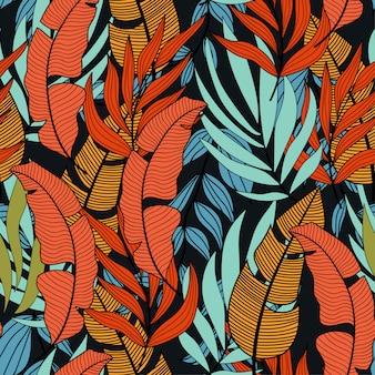 Летний бесшовные тропический узор с яркими листьями и растениями