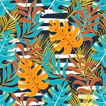 Тропический узор с листьями и растениями