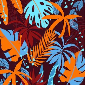 Тропический фон с разноцветными листьями и растениями
