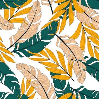 カラフルな植物と葉を持つ夏のシームレスな熱帯パターン