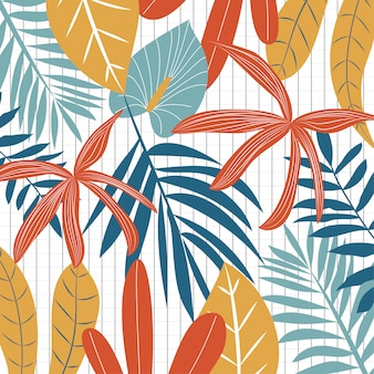 Фон с разноцветными тропическими листьями и абстракция