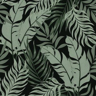 カラフルな植物と葉を持つ植物のシームレスな熱帯パターン