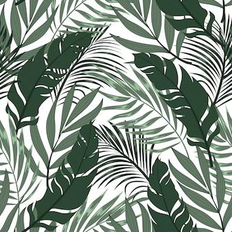 カラフルな植物と葉を持つ抽象的なシームレスな熱帯パターン