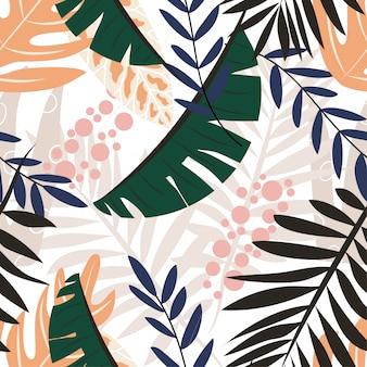 Оригинальный бесшовный узор с тропическими растениями