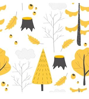 秋の森の木々とのシームレスなパターン