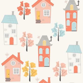 漫画スタイルの家とかわいいのシームレスパターン