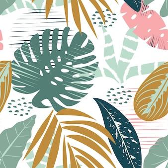 明るい色と熱帯の葉の春のシームレスパターン