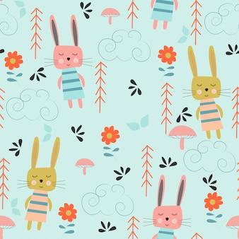 Бесшовный детский узор с кроликами и деревьями