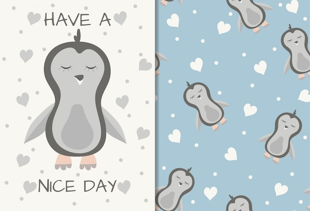 Симпатичный пингвин бесшовный фон для печати