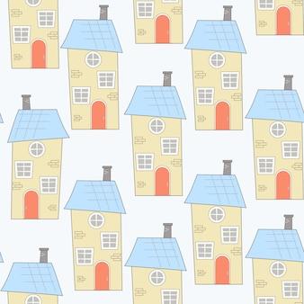 漫画スタイルの家とのシームレスなパターン