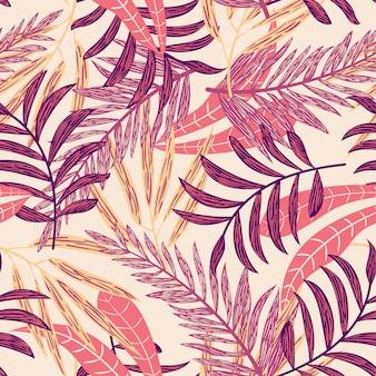 カラフルな熱帯の葉とのシームレスなパターン