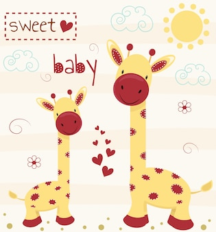 かわいい赤ちゃんの碑文とキリン