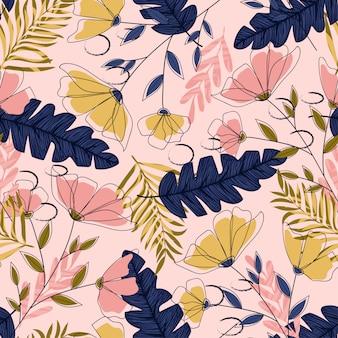 Бесшовный фон с тропическими листьями и цветами