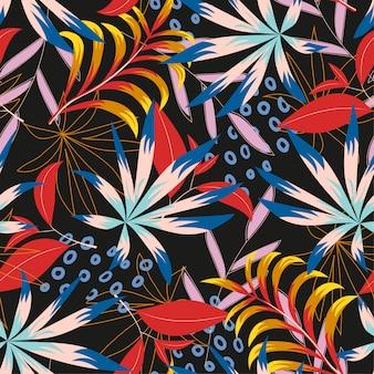Абстрактный тропический бесшовный узор с яркими листьями и растениями на коричневом фоне